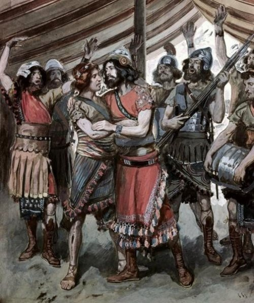 Phillip Medhurst presents 259_788 James Tissot Bible c 1899 David takes the head of Goliath to Saul at Jerusalem 1 Samuel 18_1 Jewish Museum New York.jpg
